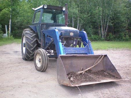 Tractor, Blue, Agriculture, Bucket, Wheels, Vehicle