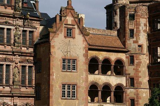 Castle, Heidelberg, Friedrichsbau, Sun Clock