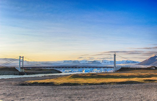 Bridge, Clear Sky, Cloud, Lake, Landscape, Mountain