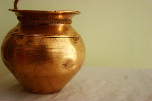 Copper, Pot, Vessel, Antique, Old, Round, Vase