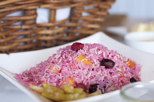 Pink Rice, Rice, Pink, Wedding, Buffet, Decoration