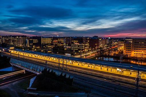 Equinox, Train, Sunset, Amsterdam, Netherlands