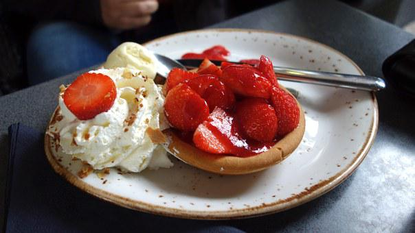 Pastry, Strawberry Flan, Delicacy, Food, Whipped Cream
