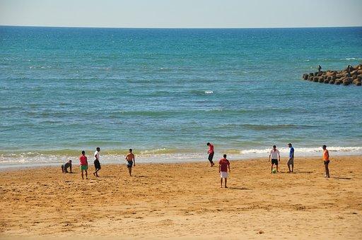 Morocco, Assilah, Beach, Football