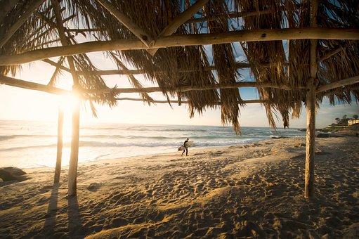 Beach, Hut Waves, Island, Leisure, Ocean, Person