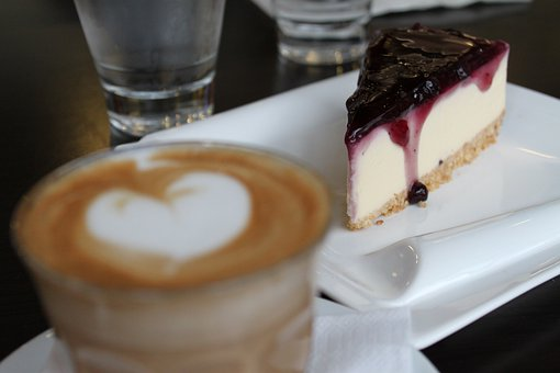 Cake, Coffee, Latte Macchiato, Food, Beverages, Hot