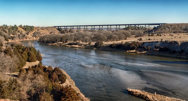 Valentine, Nebraska, River, Water, Bridge, Trestle