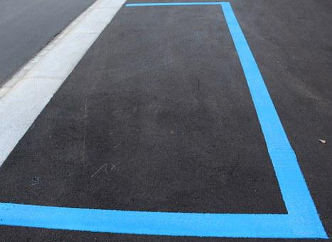Park, Park Field, Blue Zone, Mark, Asphalt, Pavement