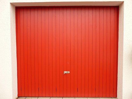 Goal, Garage, Garage Door, Red, Open, Color, Painted