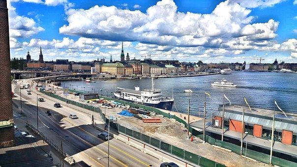 Sweden, Stockholm, Town, Water, Boat, Road