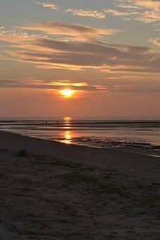 Evening Sky, Sunset, Sea, Wadden Sea, Watts