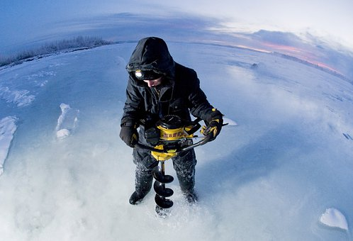 Landscape, Winter, Snow, Ice, Man, Working, Sky, Clouds