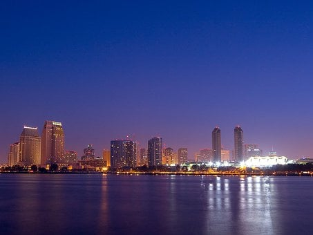 Skyline, City, Skyscrapers, Mood, Atmosphere, Evening