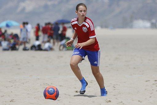 Soccer, Beach, Girl, Sport, Football