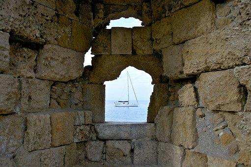 Greece, Wall, Stone, Opening, Sea, Ocean, Water, View