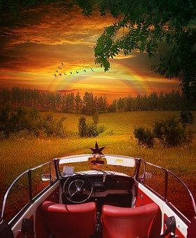 Beetle, Vw, Classic, Landscape, Sunset, Sky