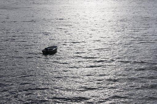 Boat, Water, Silhouette, Lost, Single, Open Sea