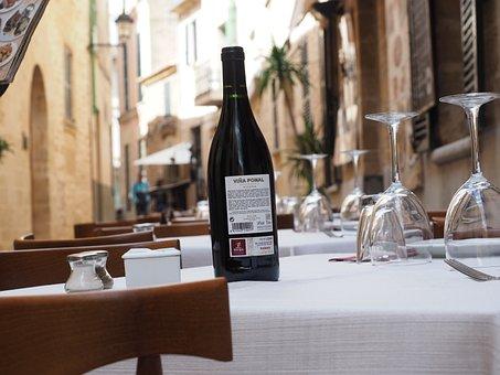 Wine, Wine Bottle, Restaurant, Gastronomy, Table, Cover