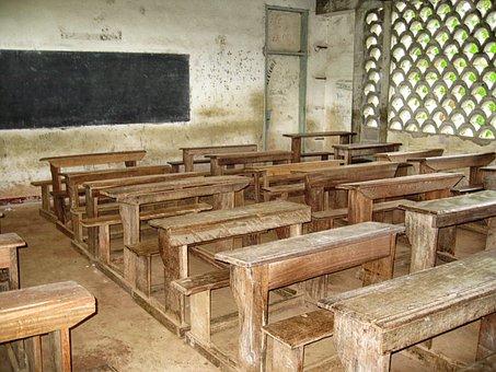 Cameroon, School, Classroom, Desks, Benches, Inside