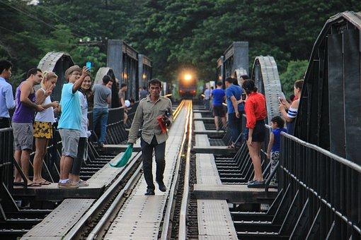 Railroad, Bridge, Train, River Kwai