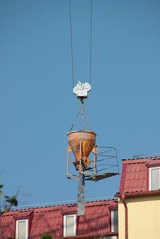 Concrete, Container, Crane, Heavy, Hook, Lifting