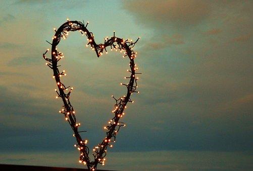 Heart, Lichterkette, Love, Evening Sky, Romantic