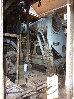 Excavators, Excavator Engine, Old, Technology, Rusted