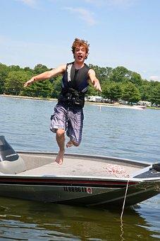 Boating, Jumping, Swimming, Boat, Water, Fun, Summer