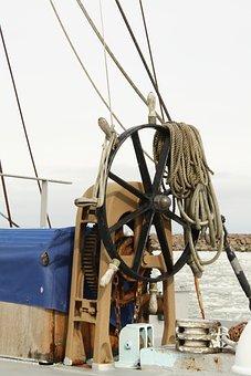 Steering Wheel, Helm, Ship, Sailing Boat, Shallows