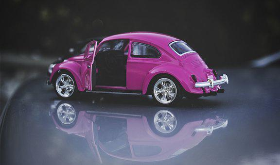Beetle, Old, Pink, Vintage, Vw Beetle