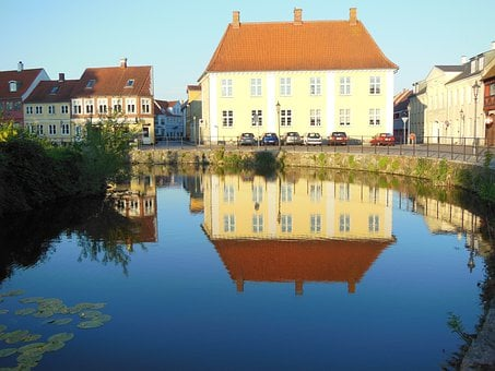 Old Buildings, Streetscape, Moat, Reflections