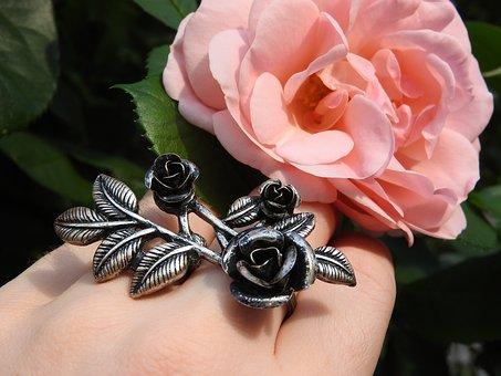 Ring, Jewel, Rose, Flower, Pink, Silver