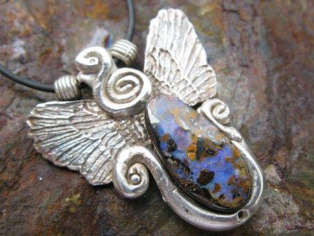 Art, Jewel, Silver, Jana Veselá, Art Clay Silver, Opal