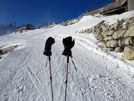 Gloves, Cold, Warming, Black, Ski Run, Ski Poles