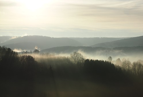 Fog, Bergisches Land, Morning, Sun, Sunrise, Mood