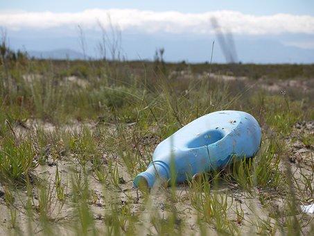 Litter, Bottle, Rubbish, Waste, Blue, Grass, Wasteland