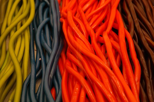 Lasso, Lakritzstangen, Yellow, Blue, Red, Brown