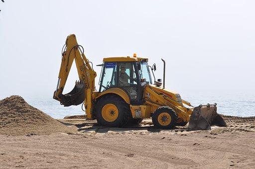 Excavator, Grävskopa, Sandbox, Sand, Yellow, Beach