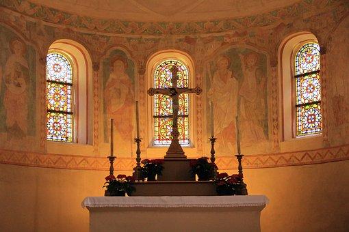 Church, Building, Altar, Window, Art, Mural, Luegde