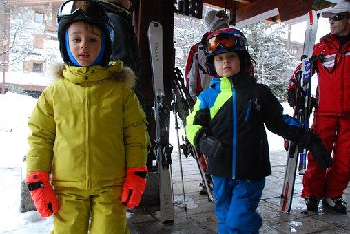 Children, Ski, Alps, Valdesere, Vacation, Winter