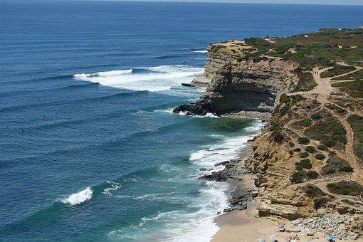 Portugal, Coastal, Ericeira, Escarpment, Rocks, Sea