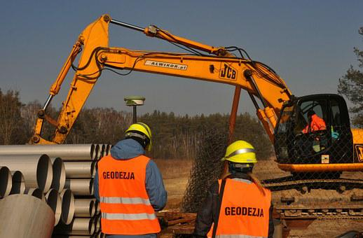 Excavator, Building, Heavy, Excavations, Tube, Geodesy