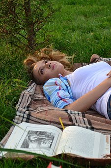 Book, Dream, Green, Woma, Blanket, Reading