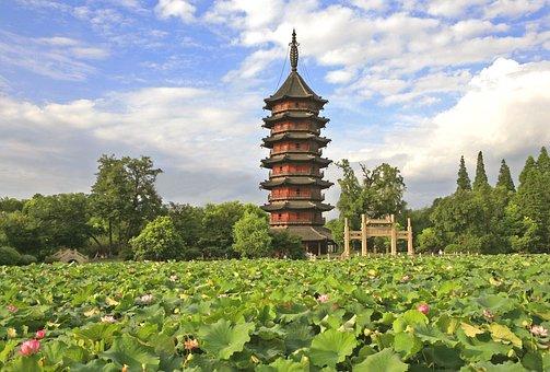 Chinese, Tower, Town, Huzhou
