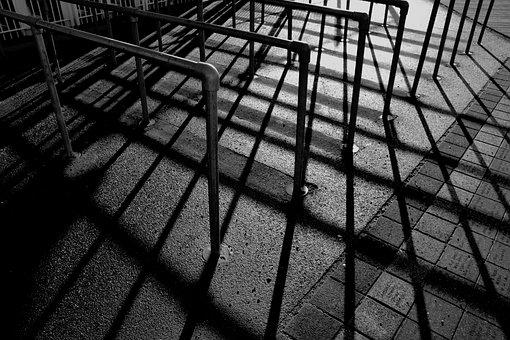 Railings, Shadows, Black And White, Metal, Sunlight