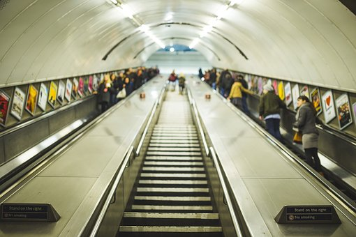 Commuter, Escalator, Indoors, Low Angle Shot, People