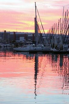 Yacht, Reflection, Cherbourg, France, Dusk