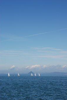Yacht, Setouchi, Blue Sky, Japan, Sea, Horizon