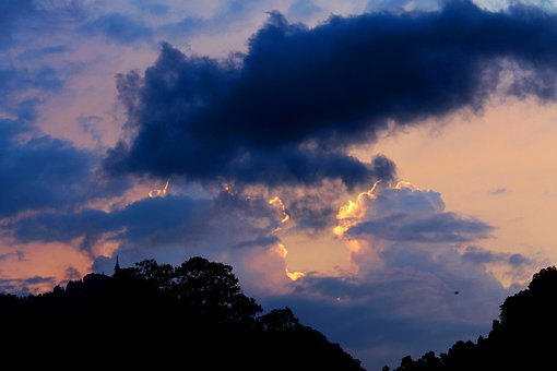Cloudy, Dark, Sunsets, Evening, Dusk, Silhouettes