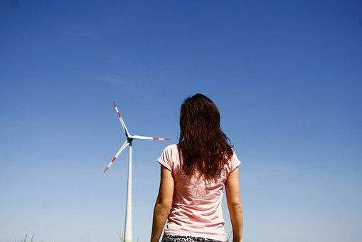 Windmill, Girl, Sky, Spinv